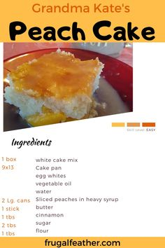 Try this super easy peach dessert recipe that's perfect for any holiday, family gathering, or just as a weeknight snack! Made with canned peaches and boxed cake mix. Cheap Dessert Recipes, Frugal Recipes, Frugal Meals, Cheap Meals, Other Recipes, Fun Desserts, Delicious Desserts, Dinner On A Budget, Dinner Ideas