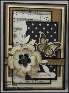 flowers and butterfly, leaves, ruffle, sheet music--lots going on here but it all comes together!