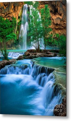 Havasu Paradise Metal Print by Inge Johnsson. All metal prints are professionally printed, packaged, and shipped within 3 - 4 business days and delivered ready-to-hang on your wall. Choose from multiple sizes and mounting options. Beautiful World, Beautiful Places, Beautiful Pictures, Beautiful Scenery, Beautiful Waterfalls, Beautiful Landscapes, Image Nature, Amazing Nature, Belle Photo