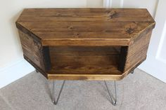 Reclaimed rustic wooden corner tv stand cabinet unit solid