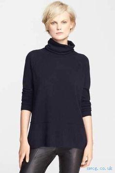 VINCE. - Turtleneck Sweater - (COASTAL BLUE - - ) - Women>Clothing>Sweaters>Turtleneck & Cowl Neck>
