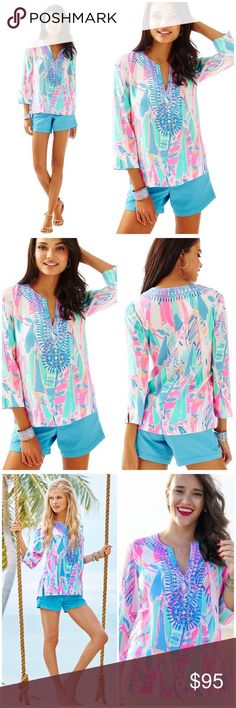 NWT LILY PULITZER AMELIA ISLAND TUNIC Out 2 Sea XS NWT LILY PULITZER AMELIA ISLAND TUNIC Out 2 Sea XS. Retail: $168 - must have 100% silk tunic with cutout v-neck style w blue printed detailing. This is too gorgeous to miss! Lilly Pulitzer Tops