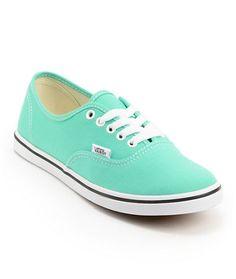 Vans Girls Authentic Lo Pro Mint Leaf & White Canvas Shoe at Zumiez