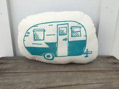 Camper Camping Retro Block Printed Plush Softie Pillow