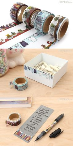 Washi tape is a Japanese craft masking tape that comes in many colors and patterns and has tons of creative uses. Use it to add whimsical, creative accents to scrapbooks and cards, or stick it on your wall calendars and personal planners to mark important dates.
