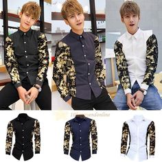 Fashion Men Casual Shirt Slim Fit Stylish Long Sleeve Dress Shirts Luxury Tops