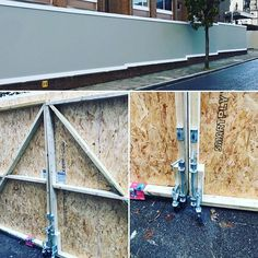 Wooden hoarding designed installed and painted for Aspect Four Demolition at a site in St Johns Wood London. Hoarding supported on 64 x concrete blocks all designed and planned by us. Install took 4 days (in the rain). Hoarding Design, John Wood, Concrete Blocks, Ladder, Fence, Creativity, Rain, Construction, London