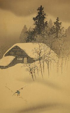 "JAPANESE HANGING SCROLL : KAWAI GYOKUDO ""Snow Scenery"" @f387"
