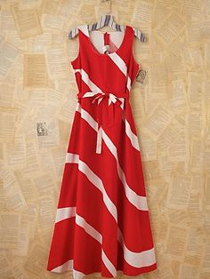 Vintage Red and White Maxi Dress
