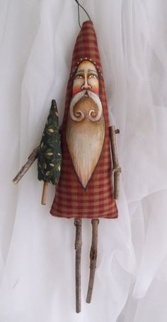 Santa Claus Ornament Tree Branch Sticks Scherer Folk Country Art