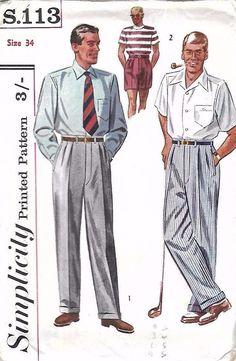 Vintage 1950s Sewing Pattern Simplicity S.113 Mens Slacks