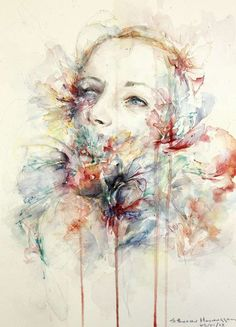 Somber Streaky Watercolor Portraits : Catherine Hennessey