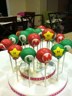 Super Mario Bros Cake Pops by LizzysTreats on Etsy  Need to try to make for Conner's birthday
