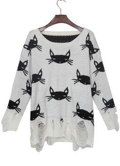 White Black Cat Print Shredded Distressed Sweater