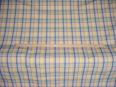 1+y BRAEMORE GRAY BLUE / MAIZE YELLOW COTTON PLAID DRAPERY UPHOLSTERY FABRIC