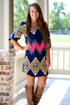 Cute Clothing Boutiques For Women Pop of Pink Aztec Shift Dress