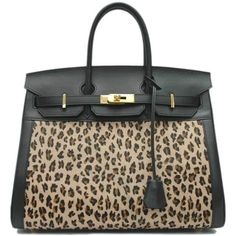 35cm Leopard Embossed Cow Lether Birkin ❤ liked on Polyvore