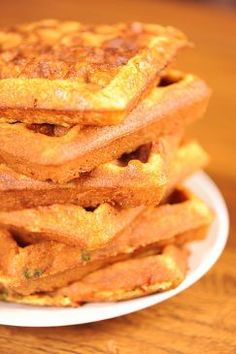 Cornbread Waffles  - cornmeal, flour, baking powder, sugar, salt, eggs, milk, canola oil