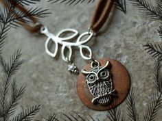 Owl and Moon Necklace Moon Necklace Bird Branch by KristinRebecca, $24.50