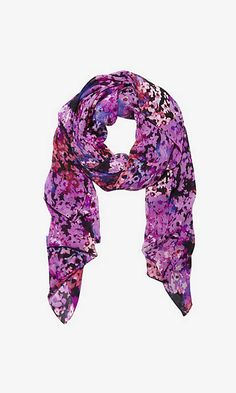 SILKY WILDFLOWER PRINT QUAD SCARF | Express