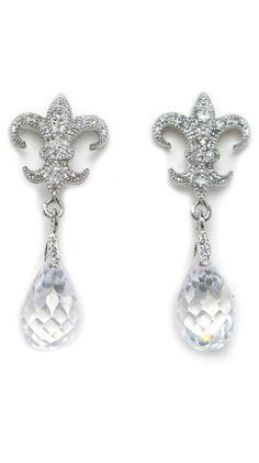Fleur-de-Lis Crystal Drop Earrings