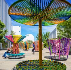 """Esrawe + Cadena's Toy-Inspired """"Los Trompos"""" Installation,Courtesy of Discovery Green Conservancy"""