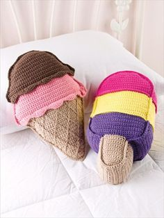 Crochet Ice Cream Cones Pillow- 22 Extremely Easy Crochet Patterns | DIY to Make