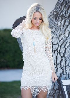Lace Dress, Scallop edge dress, Long Sleeve Dress, Short Dress, Online Boutique. Modern Vintage Boutique