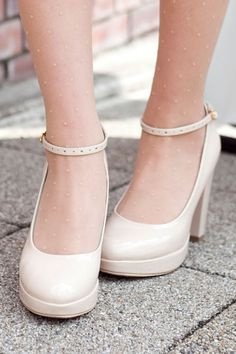 Ankle Strap Simple Ivory High Heels