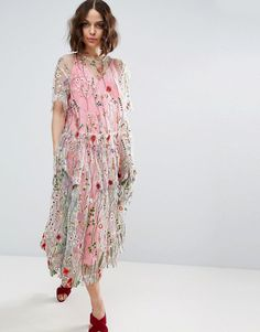 ASOS SALON Embroidered Smock Longer Length Midi Dress - Multi