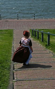 Dutch girl in traditional Urk costume