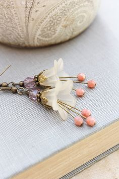 Lucite Flower Earrings Mothers Day Vintage Style Dangle Fairy Pixie Botanical Drop Floral Cream Ecru Ivory Pink Peach Plum Purple Spring