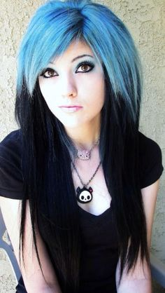 Blue and Black Hair✶ #Hair #Colorful_Hair #Dyed_Hair