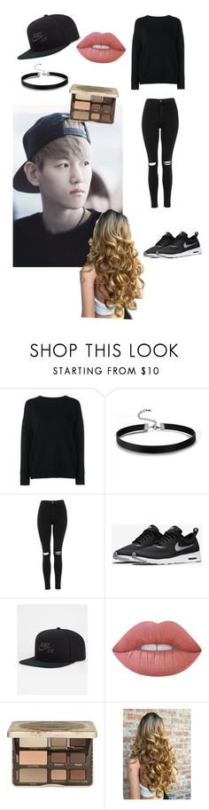 """""""Baekhyun inspired look"""" by btsbxtch ❤ liked on Polyvore featuring Frame Denim, Topshop, NIKE, Lime Crime, Too Faced Cosmetics, EXO and baekhyun"""