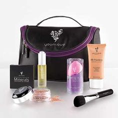 About Face Collection  Uplift Eye Serum, BB Flawless Complexion Enhancer, Set of Blending Buds, Moodstruck Minerals Concealer, Moodstruck Minerals Pressed Blusher, Blusher Brush, Younique makeup bag. $175  beyoutifulqueens.com