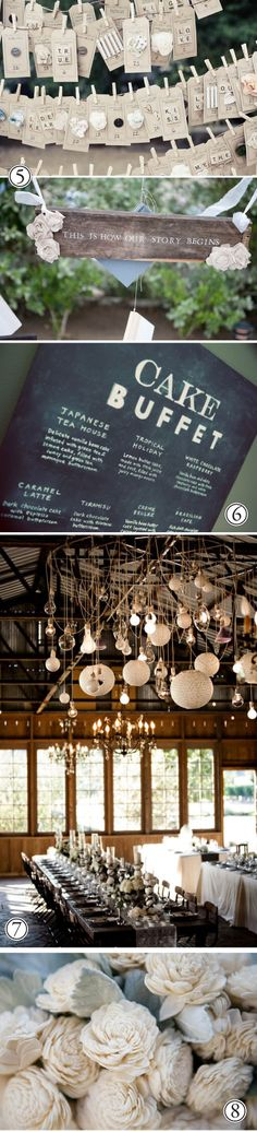Cake Buffet -- Menu Chalkboard; Hanging lights chandelier