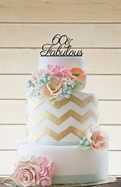 60 and Fabulous Birthday Cake Topper,Birthday Cake Topper,anniversary Party Cake Decoration.
