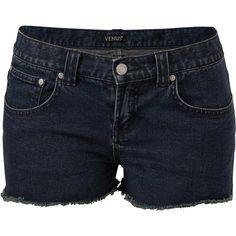 Venus Women's Plus Size Cut Off Jean Shorts ($26) ❤ liked on Polyvore featuring shorts, blue, blue denim shorts, short denim shorts, denim shorts, women's plus size shorts and cut-off shorts