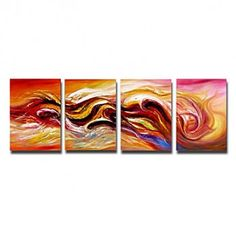 Hand-painted Abstract Oil Painting with Stretched Frame - Set of 4 - OutletsArt.com