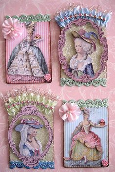 MARIE ANTOINETTE ♥ Gorgeous fabric postcards @Karin H Dalton-Smith  thought you might like these.