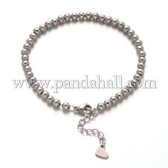 304 Stainless Steel Ball Chains Bracelets with Lobster Claw Clasps Stainless Steel Color 175mm