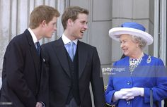 Queen Elizabeth II Is Joined By Her Grandsons Prince William And Prince Harry On The Balcony Of Buckingham Palace After The Trooping The Colour Parade. Prince William Is Laughing While His Grandmother Is Smiling.