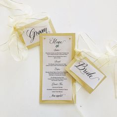 Cara Couture Invitations offers personalized hand crafted invitations for weddings and events. Couture Wedding Invitations, Groom, Menu, Place Card Holders, Bows, Bride, Crafts, Menu Board Design, Arches