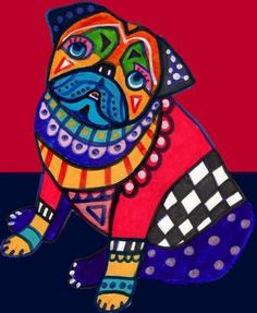 11x14 Pug Art  Pug Print  pug poster by HeatherGallerArt on Etsy, $24.00