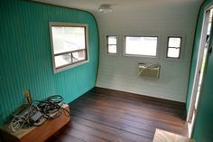 Vintage Camper Project: Bead board walls and pallet wood floors