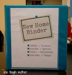 New Home Binder with FREE Printables by One Tough Mother - organize your move, and wrangle all of your home improvement receipts, warranties, etc. Tough Mother, Moving House, Home Ownership, Building A House Checklist, New House Checklist, Apartment Checklist, New Home Owner Tips, New Home Buyer, New Home Owners