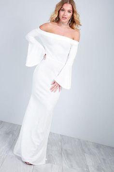 2c10a6205e5e2 Callie Flute Sleeve Off Shoulder Maxi Dress