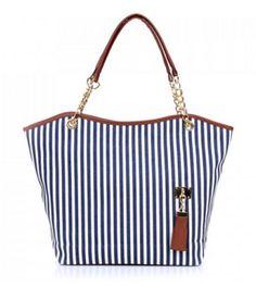 Canvas Striped Tote Bag Cute Shoulder Bag Blue Stripes Hanging Tassel Large