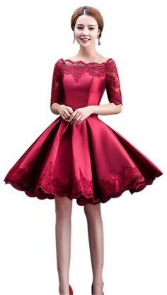 Eyekepper Off-the-Shoulder Lace Floral Party Prom Short Evening Dress