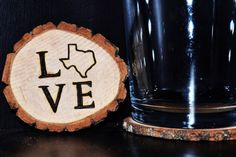 Set of 4  Handcrafted 'Love State' Woodburned Coasters by ZSDesign